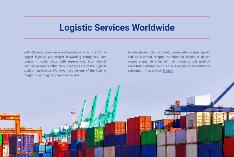 Logistic services worldwide  HTML Template