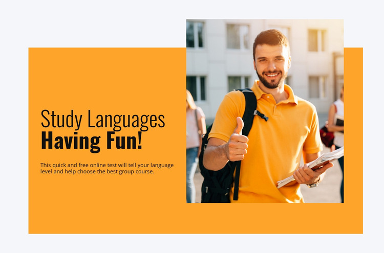 Learn languages successfully Website Mockup