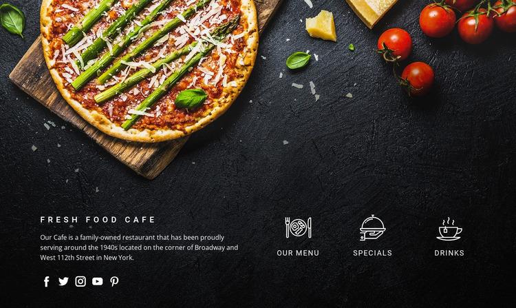 Fantastic freshly made pizza Website Mockup
