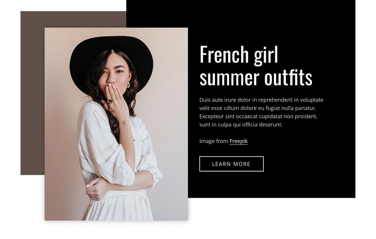 French girl summer outfits HTML Template