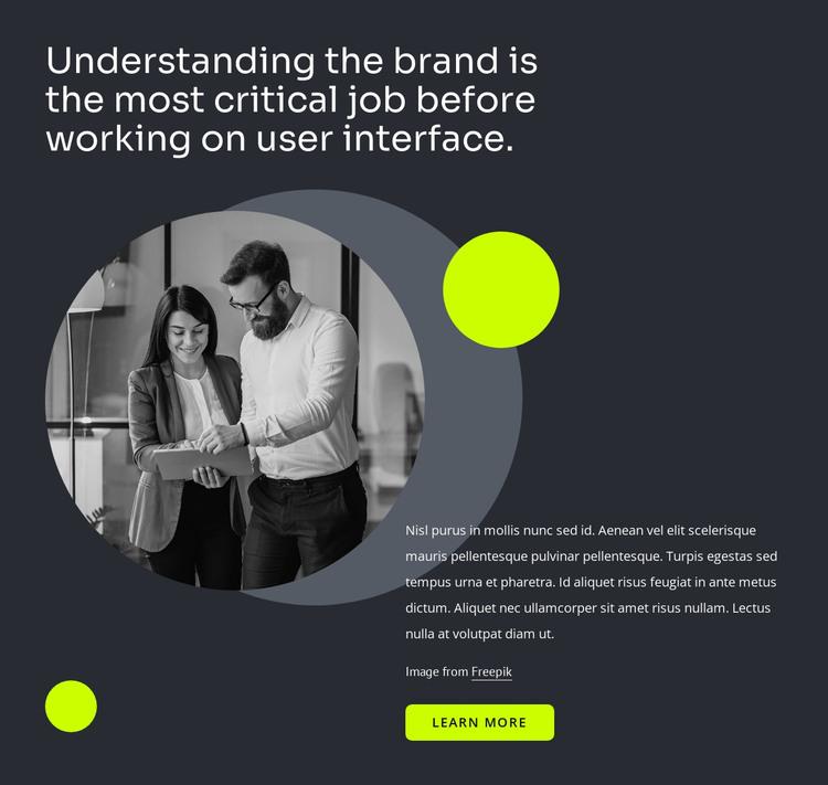 User interface design HTML Template