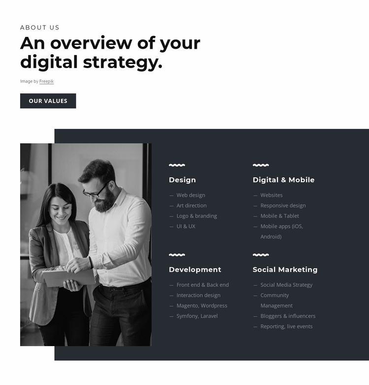 Develop innovative strategies Website Template
