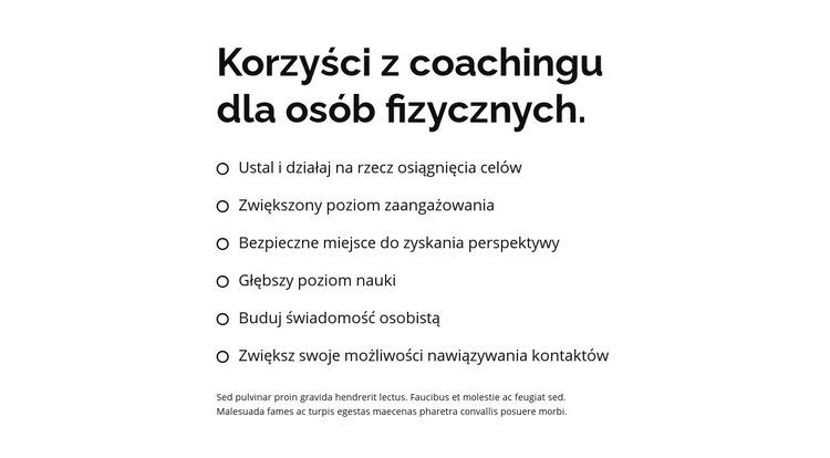 Nagłówek i duża lista Szablon witryny sieci Web