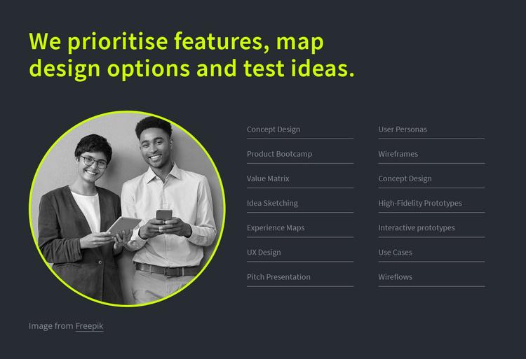 We prioritise features Website Template