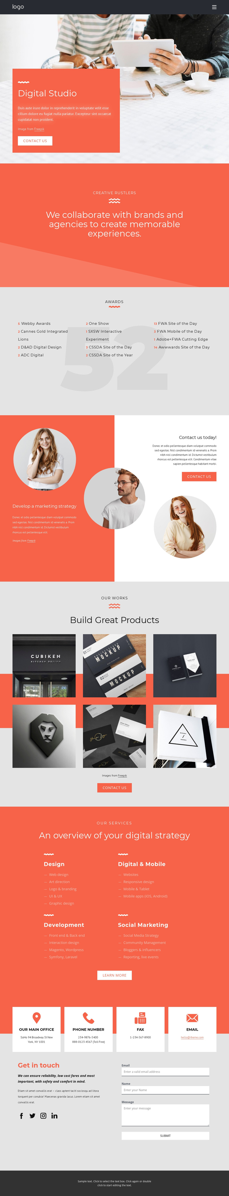 We create memorable experiences One Page Template