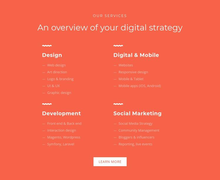 Design, development, marketing Website Template