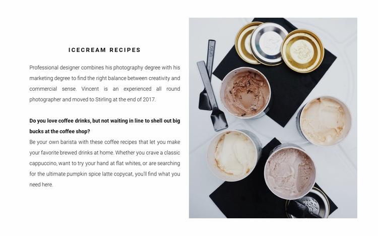 Ice cream recipes Website Design