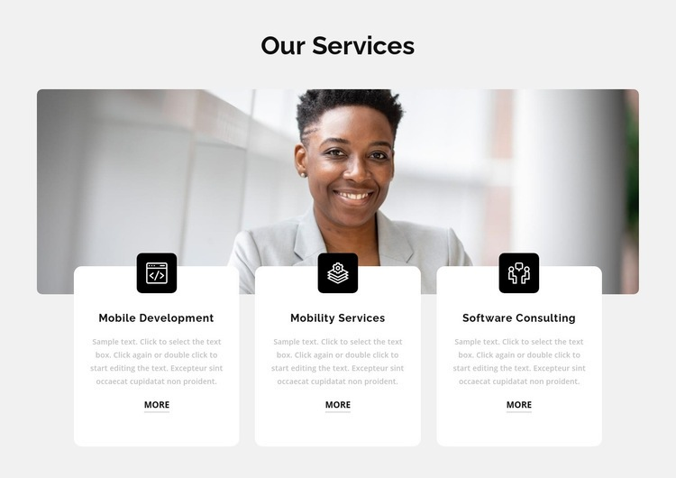 Three popular services Html Code Example