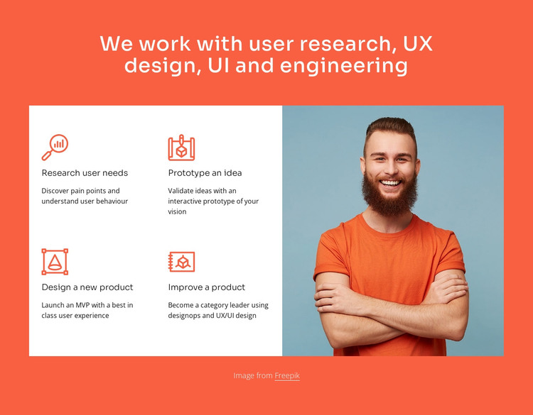 We work with UX design and engineering HTML Template