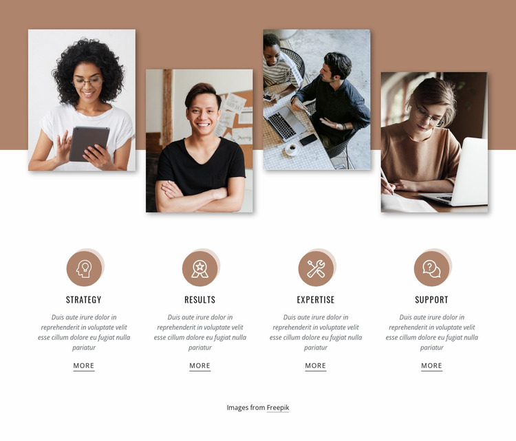 Features with images Website Mockup