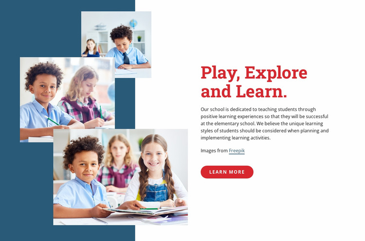 Play explore and learn Website Mockup