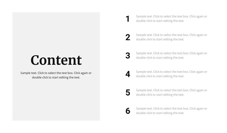 Content information HTML Template