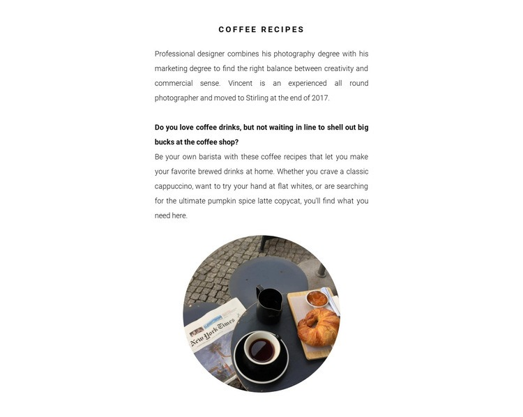 Coffee preparation methods Html Code Example