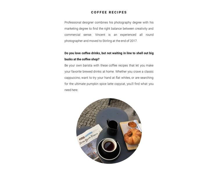 Coffee preparation methods Web Page Designer