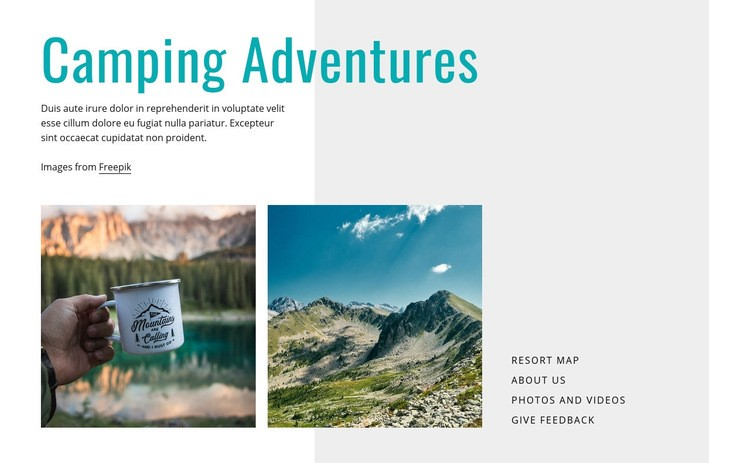 Camping adventures Html Code Example