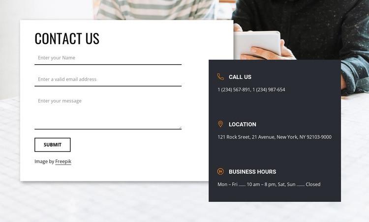 Best contact us block Html Code Example