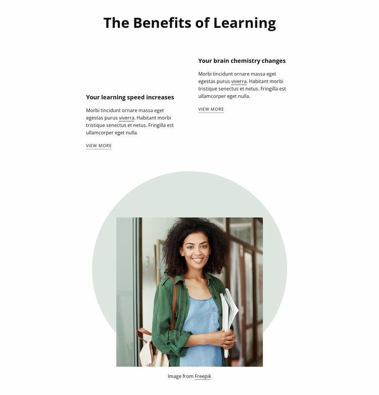 Behefits of learning Website Mockup