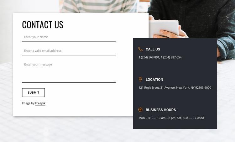 Best contact us block Website Mockup