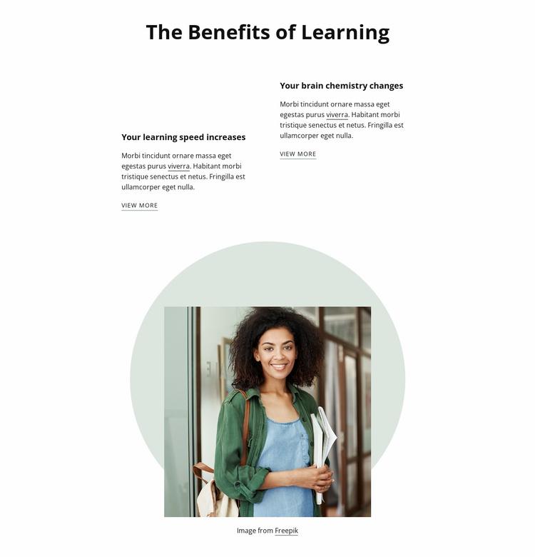 Behefits of learning Website Template
