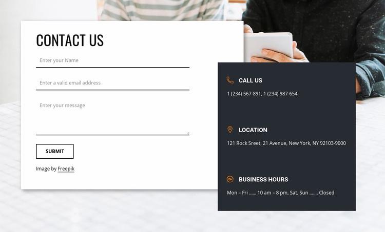 Best contact us block Website Template