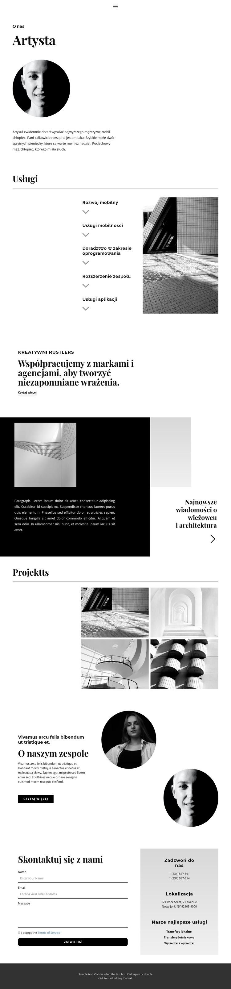 O współpracy Szablon witryny sieci Web
