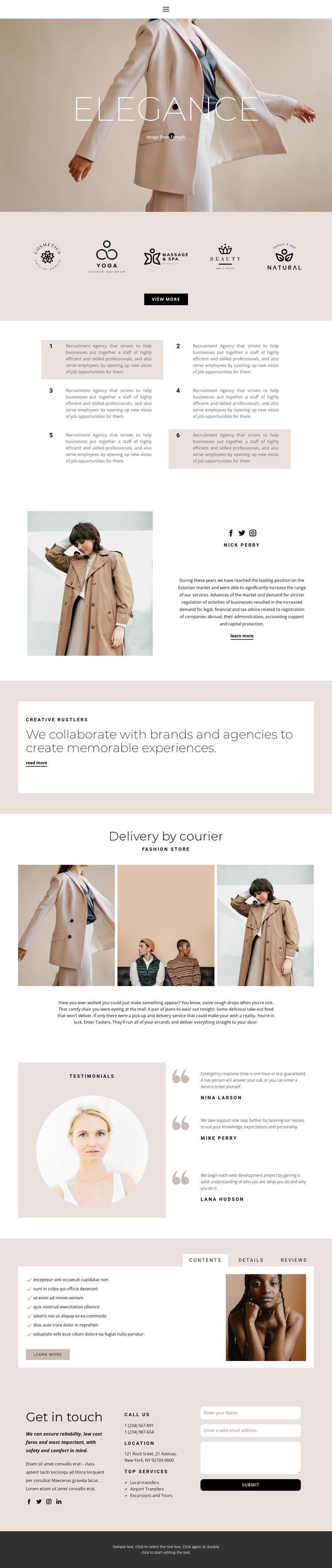 Elegance in fashion Web Page Designer