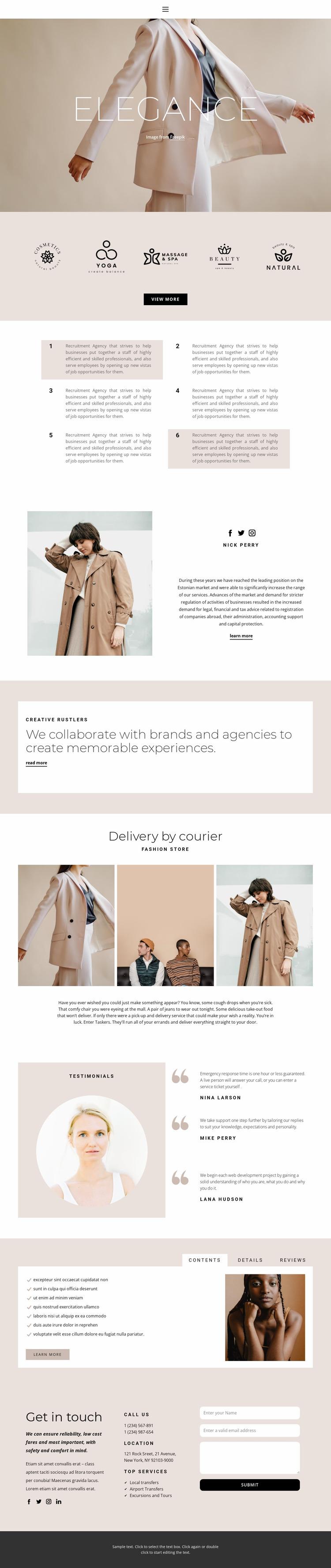 Elegance in fashion Website Mockup