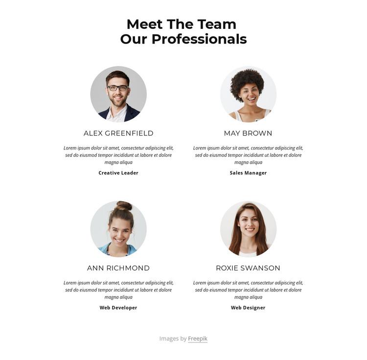 Meet the creative team HTML Template
