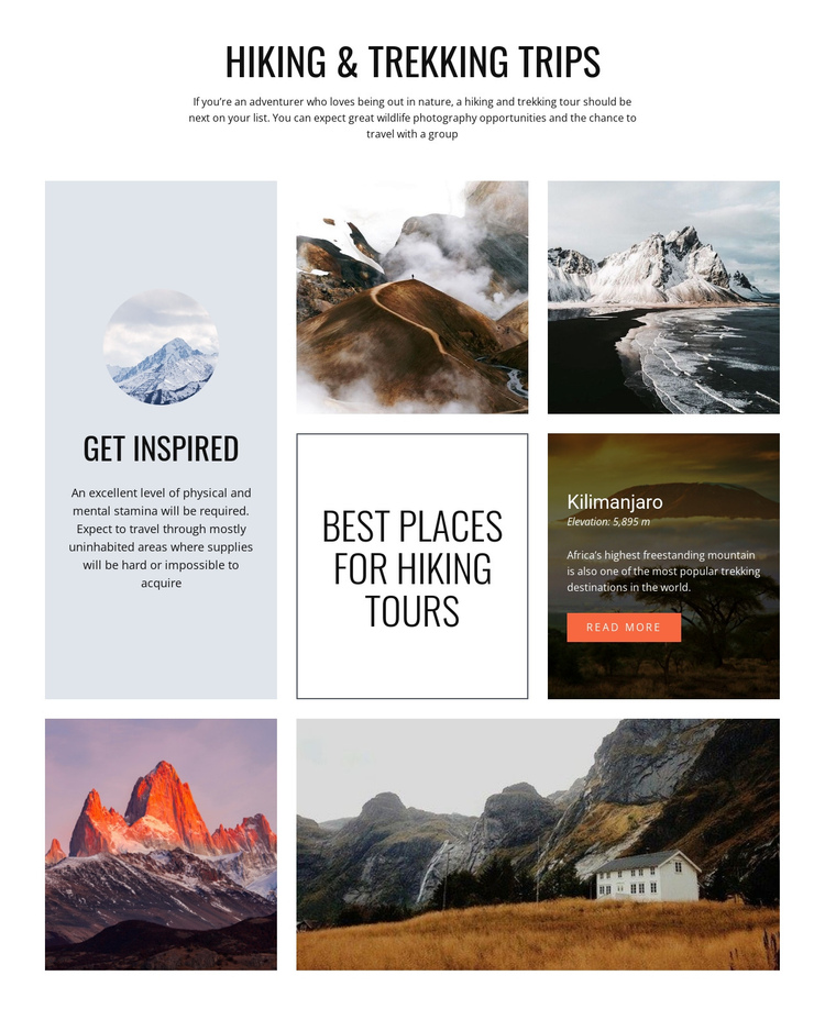 Hiking and trekking trips One Page Template