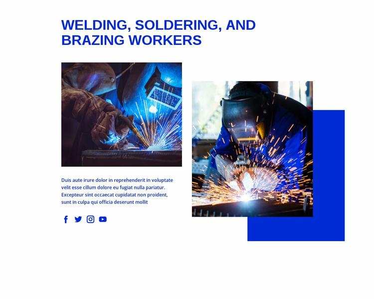 Welding, soldering and brazing, workers Website Template