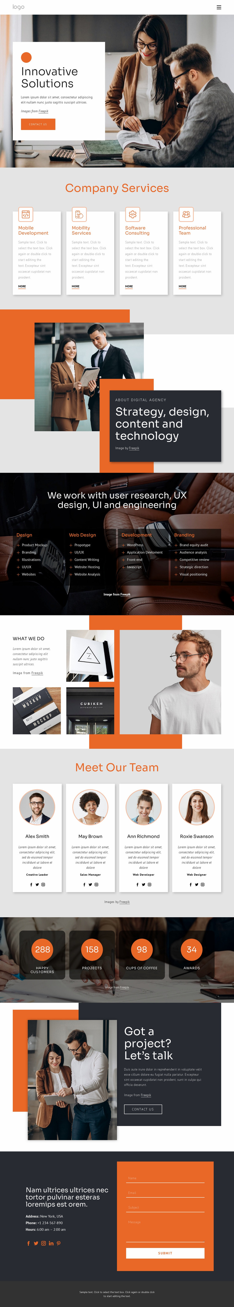 Innovative solutions and support Website Mockup