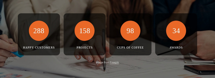Number counters in shapes Website Mockup