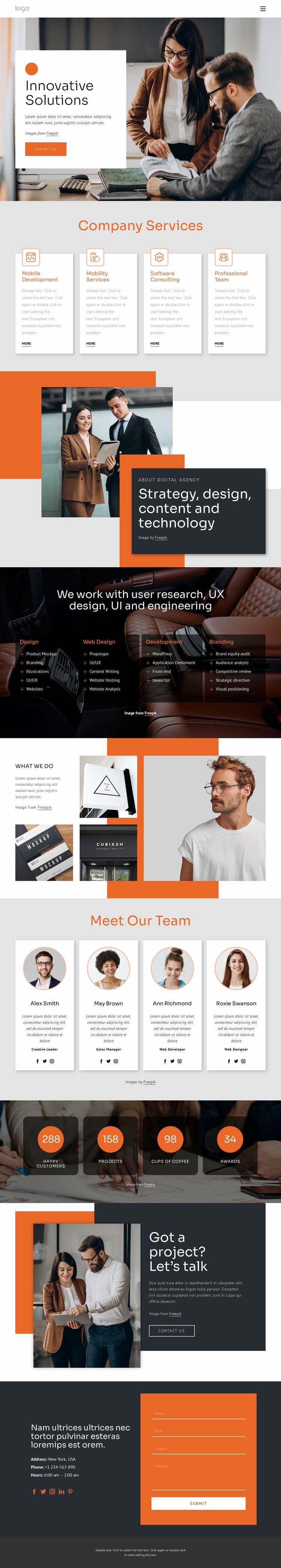 Innovative solutions and support Website Template