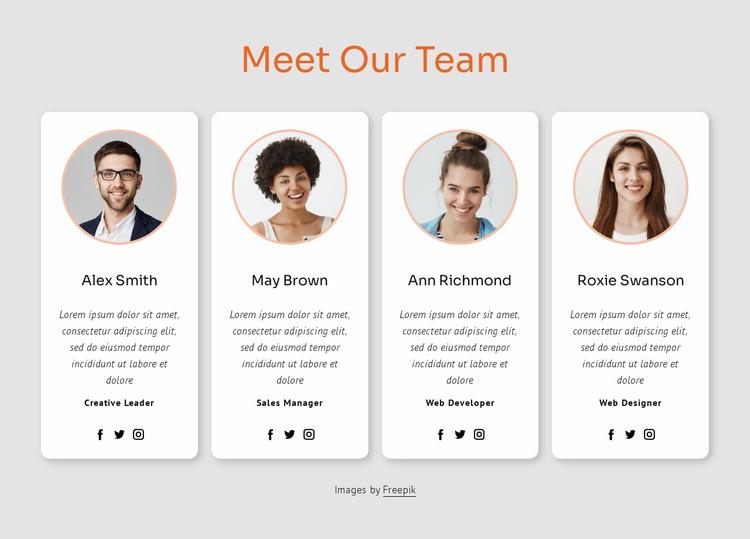 Meet our big team Website Mockup