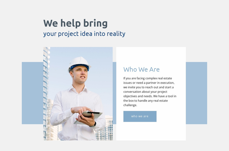 Project idea into reality Website Template