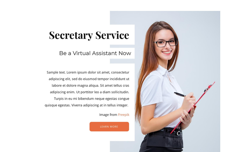 Online secretary service One Page Template
