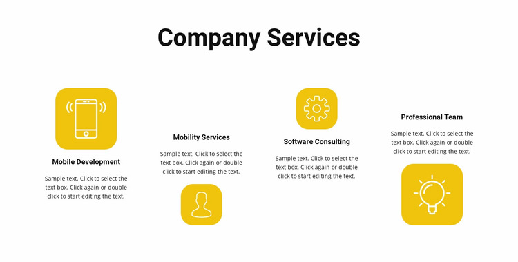 Services of our company Website Mockup