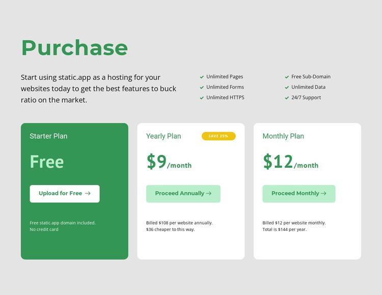 Pricing options HTML Template