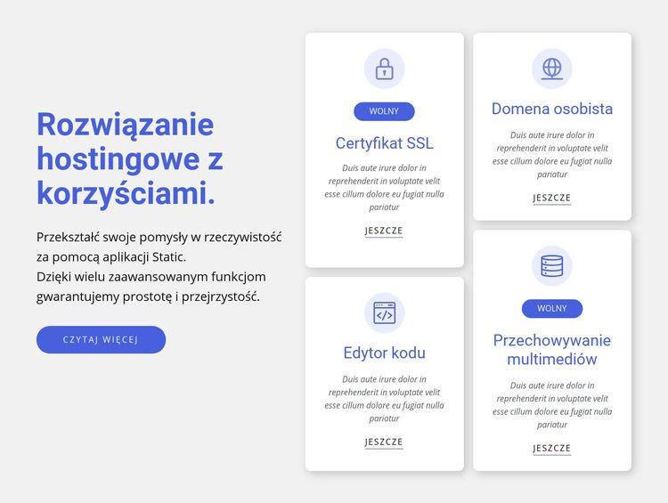 Rozwiązanie hostingowe z korzyściami Szablon witryny sieci Web