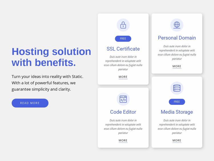 Hosting solution with benefits Website Mockup