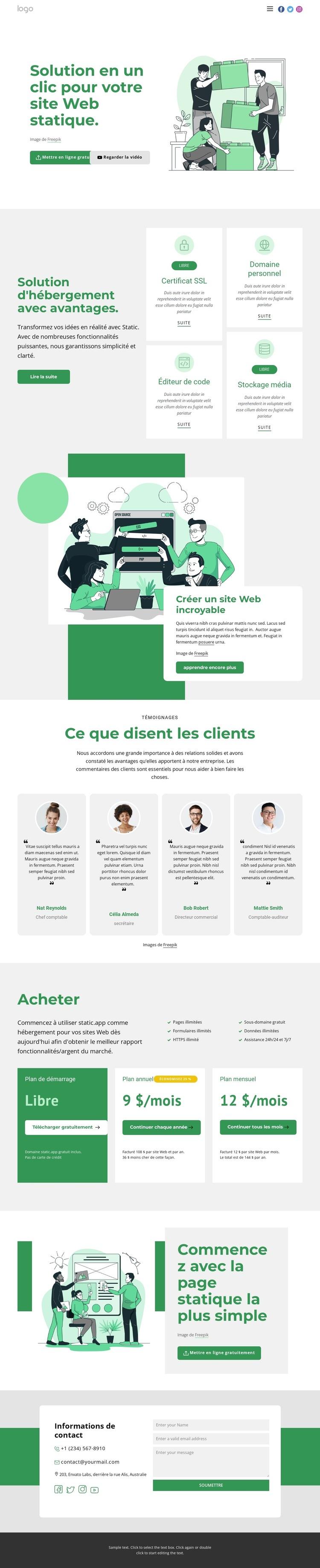 Entreprise de développement Modèle de site Web