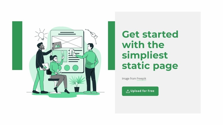 Create static page Website Template