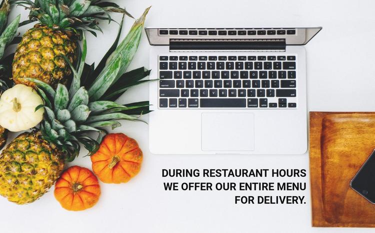 Menu delivery Website Mockup