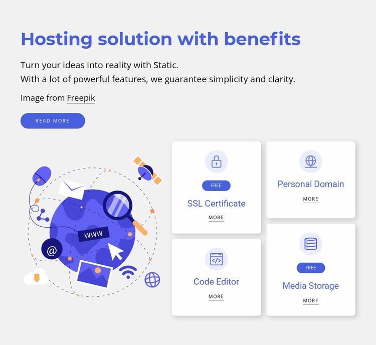 Hosting solutions Website Mockup