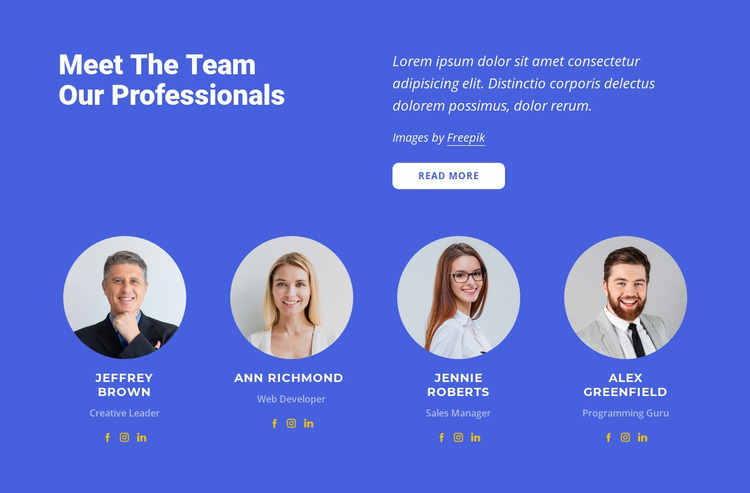 Our top specialists Website Mockup