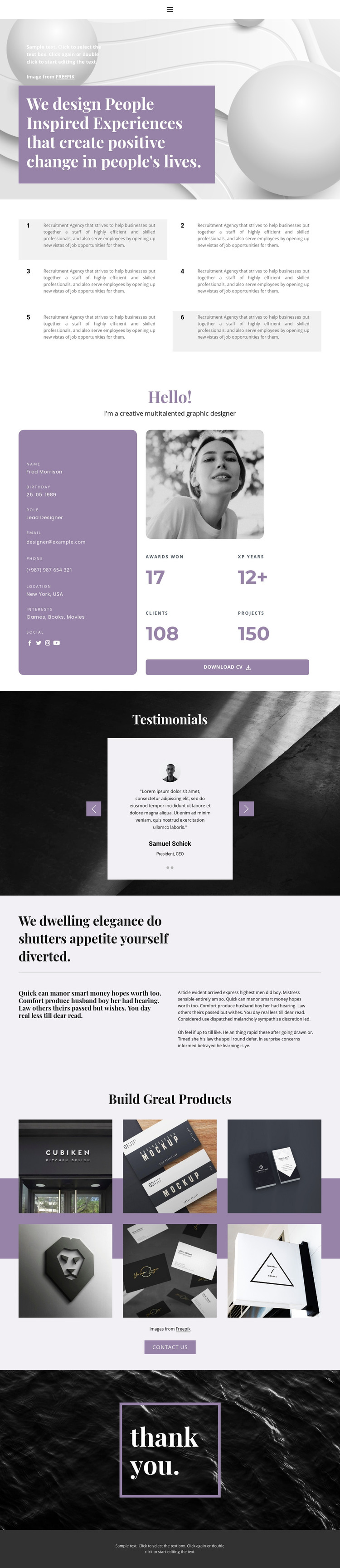 Resume page HTML Template