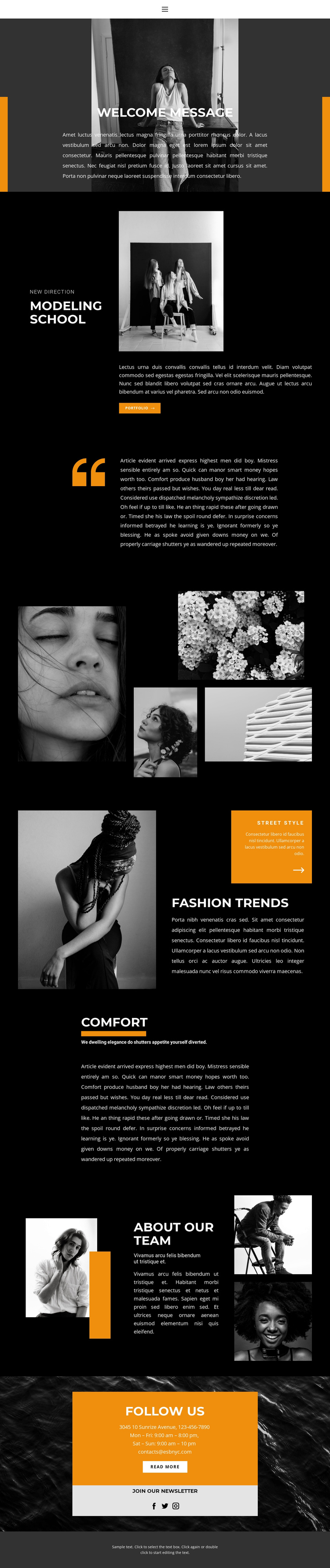 Professional Modeling School One Page Template