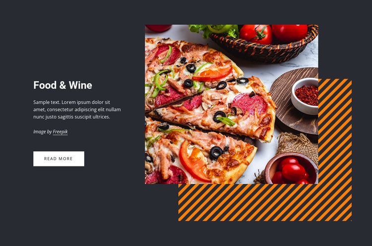 Food and wine One Page Template