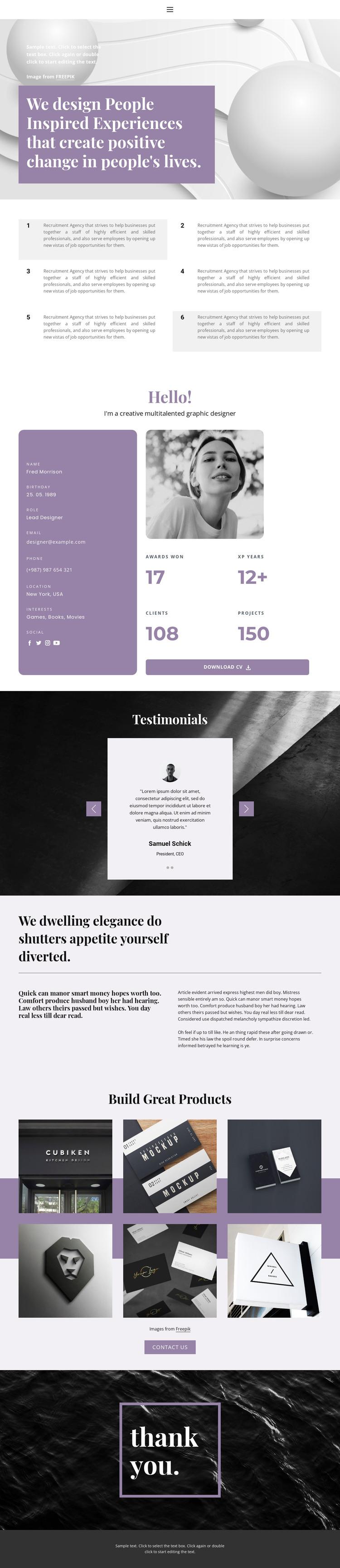 Resume page Web Design