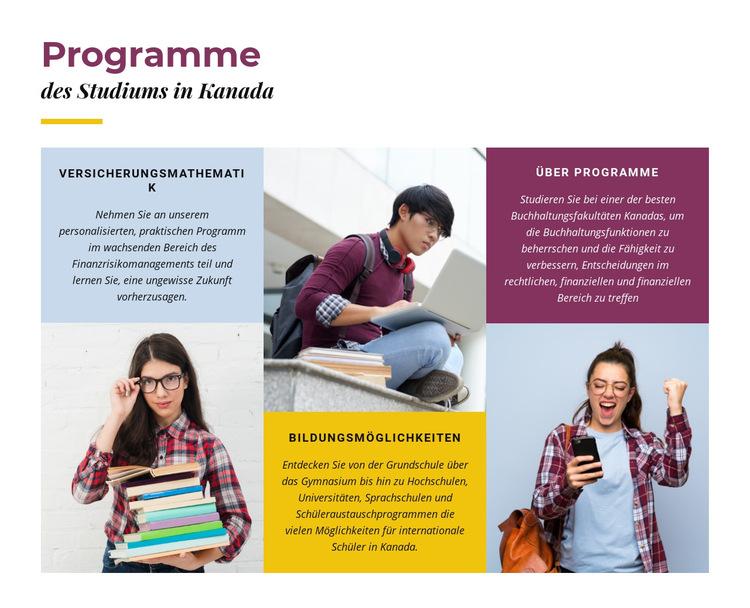 Studiengänge in Kanada Website-Vorlage